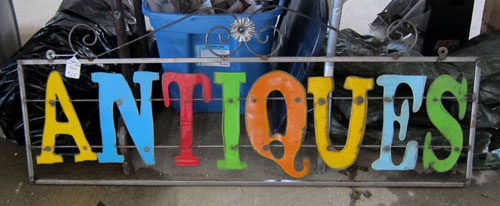 Antiques sign at Nashville Flea Market